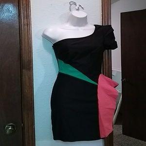 Block color cocktail dress